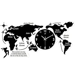 MGE UPS Systems Clock Wall Clock,Map Wall Clock, European Modern Minimalist Mute Super Large World Map Acrylic Numbers DIY Letters 3D Decals Home Living Room Office Decor (Size : 12055cm)