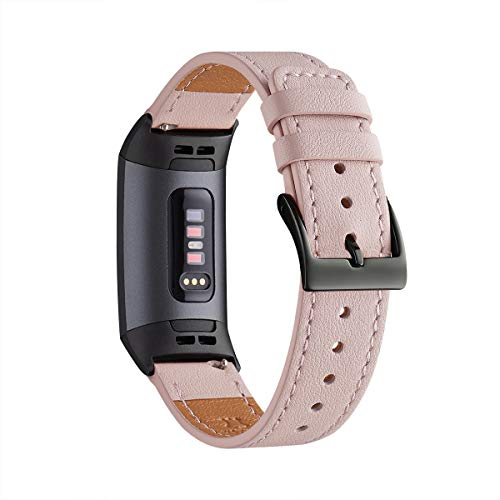 Ladies Top Grain - WFEAGL Compatible for Fitbit Charge 3/3 SE Fitness Activity Tracker, Top Grain Leather Band Strap Wristband Replacement of Many Colors with Small & Large Size (PinkSand Band+Black Adapter, ML)