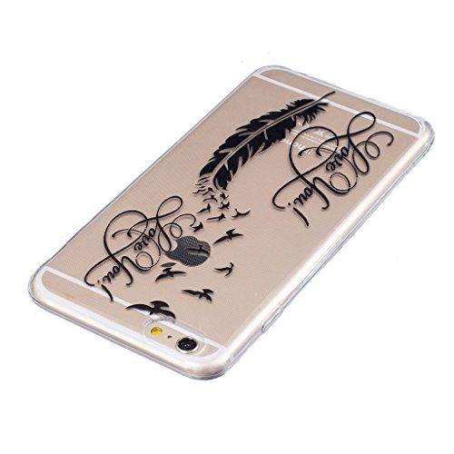 "Hülle iPhone 6 / 6S, IJIA Ultra Dünnen Feder Vogel TPU Weich Silikon Handyhülle Schutzhülle Handyhüllen Schale Cover Case Tasche für Apple iPhone 6 / 6S (4.7"") + 24K Gold Aufkleber"
