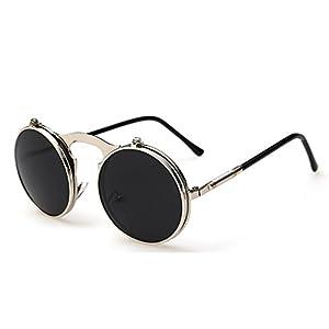 G&T 2016 Retro Fashion Metal Frame Clamshell Lens Round Beach Sunglasses(C2)