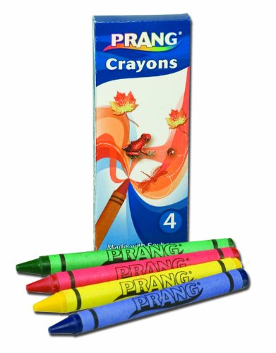 Prang Crayons, Standard Size, Box of 4 Crayons, Assorted Colors (00150)