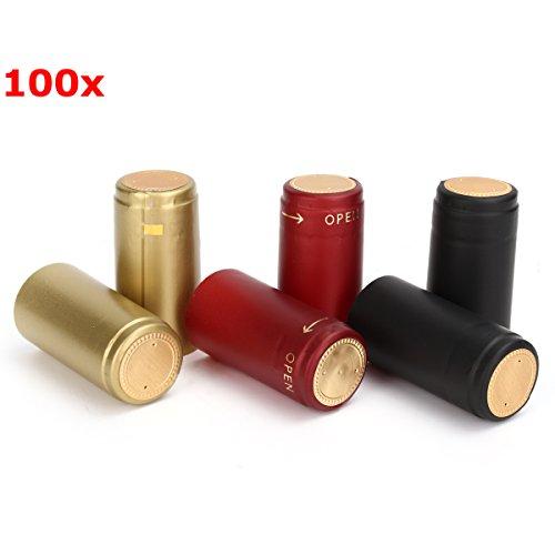 Vivona Hardware & Accessories 100Pcs Heat Shrink Cap PVC Tear Tape Wine Bottle Seal Ring Cover - (Color: Gold) by Vivona (Image #2)