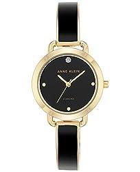 Anne Klein Women's Diamond Accent Black Enamel & Gold-Tone Bangle Bracelet Watch 30mm AK/2438BKGB