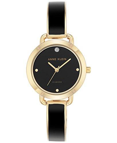 Anne Klein Women's Diamond Accent Black Enamel & Gold-Tone Bangle Bracelet Watch 30mm AK/2438BKGB ()