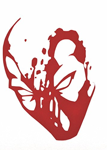 [Deadpool Bloody Face Decal Vinyl Sticker|Cars Trucks Walls Laptop|RED|6 In|KCD451] (Marvel Cable Costume)