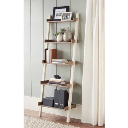 Better Homes and Gardens Bedford 5 Shelf Leaning Bookcase, Ivory by Better Homes and Gardens