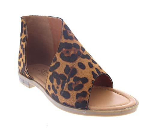 (385 Fifth Women's Faux Leather Half D'Orsay Open Toe Asymmetrical Wrap Flat Sandal Leopard 8 US)