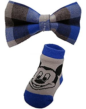 Disney Mickey Mouse Plaid Bow Tie and Socks set – 0 – 12 Months [5014]