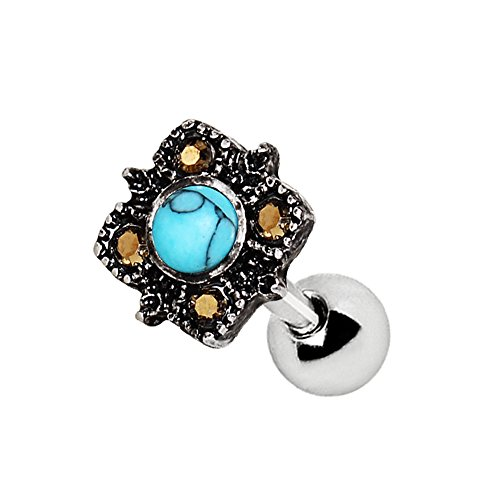 (Pierced Owl Antique Square Filigree Turquoise Cartilage/Tragus Barbell in 316L Stainless Steel)