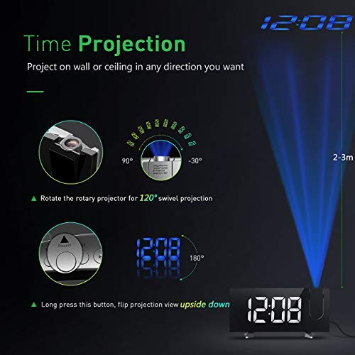 PICTEK Projection Alarm Clock, Alarm Clock with 5-inch Large Curved LED Dimmable Screen, 12/24 Hour Digital Ceiling Clock with FM Radio, Sleep Timer with Dual Alarms and Snooze Function for Kids
