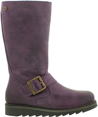 Leather Coast Hyde amp; Calf Boots Mid Womens Purple Oak BURTAqA