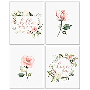 Confetti Fox Floral Nursery Wall Art Decor – 8×10 Unframed Set of 4 Pearl Prints – Baby Girl Flower Quotes Shower Bedroom Bathroom Decorations – Pink Roses Hello Gorgeous Love