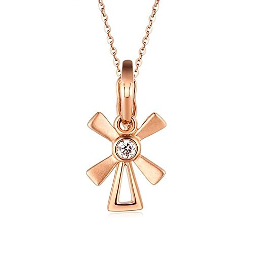 Adisaer 18k(750) Rose Gold Women Necklace Lucky Windmill Pendant Round Diamond Wedding Necklace by Adisaer