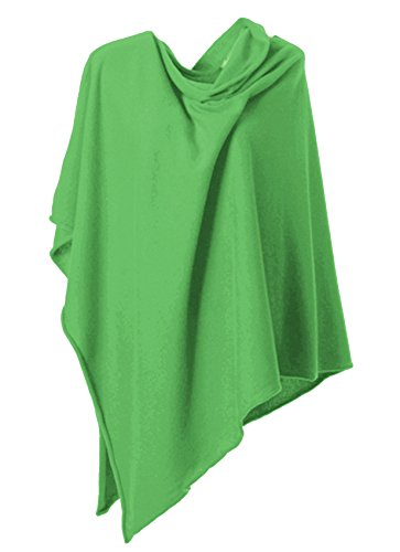 Anna Kristine Asymmetrical 100% Cashmere Draped Poncho Topper - Kelly Green by Anna Kristine
