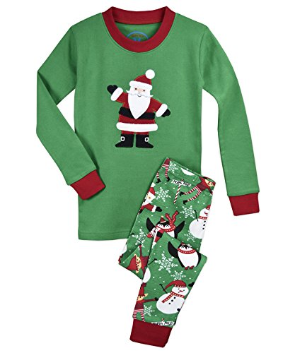 (Sara's Prints Kids' Big Cotton Long John Pajamas, North Pole Santa 12)