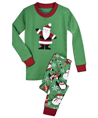 Sara's Prints Kids' Little Cotton Long John Pajamas, North Pole Santa, 6 -