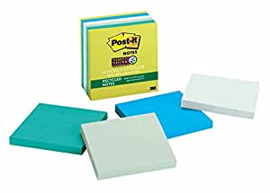Post-it Recycled Super Sticky Notes, 3 in x 3 in, Bora Bora Collection, 6 Pads/Pack (654-SST)