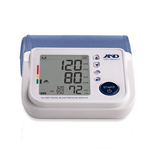 A&D Medical Upper Arm Blood Pressure Monitor with Medium Cuff and Talking Function (UA-1030T)