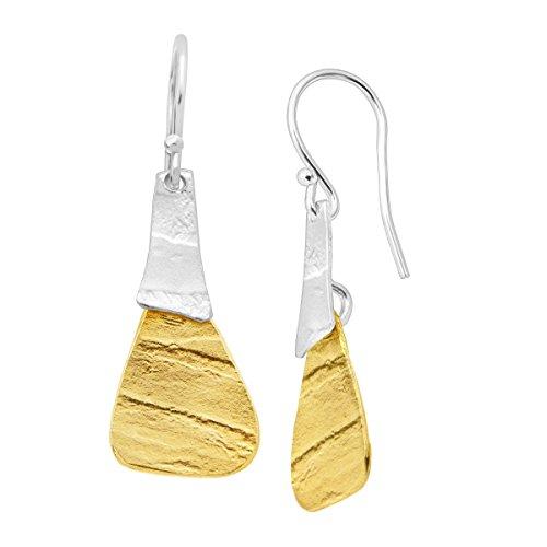 - Silpada 'Combination' Drop Earrings in Textured Brass & Sterling Silver