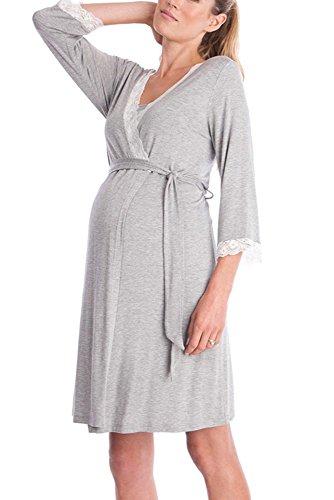 Chiaro Da Elegante Donna Sexy Indumenti Maternità Pizzo Pigiama Robe Notte Cuciture In Grigio Bozevon tOwvSdxq4q