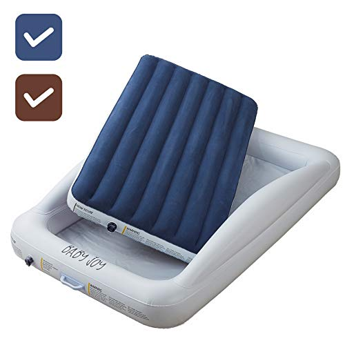 DOUBLE SIDED Inflatable Toddler Bed with Waterproof Sheet | Removable Mattress Bed Bumpers | Fast Electric Air Pump Inflates in Seconds | Portable Travel Design