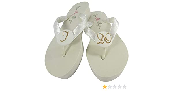 Amazon Com Ivory Wedge Flip Flops With I Do Glitter For The Bride