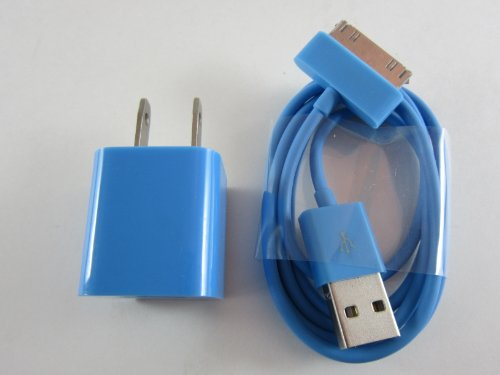 Blue iPhone 4 4S 3 3S 3G AC Wall Charger Adapter & USB Cable - iPod Touch Nano Video