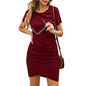 Best Epic Trends 41VCCgf6z9L._SS300_ BTFBM Women's 2021 Casual Crew Neck Short Sleeve Ruched Stretchy Bodycon T Shirt Short Mini Dress