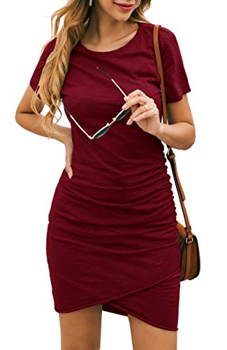BTFBM Women's 2019 Casual Crew Neck Ruched Stretchy Bodycon T Shirt Short Mini Dress (104WineRed, Large)