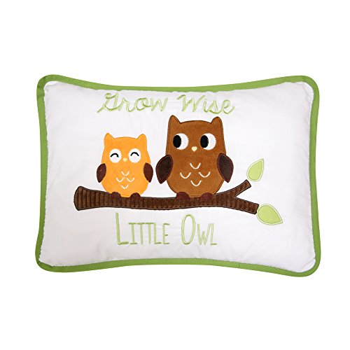 Lambs & Ivy Woodland Tales Grow Wise Little Owl Decorative Pillow, Green/Brown from Lambs & Ivy