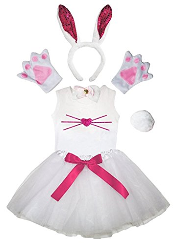 Petitebella Headband Bowtie Tail Gloves Shirt Skirt 6pc Girl Costume (Hot Pink SE Bunny Nose, 6-8 (Hot Halloween Costumes Photos)