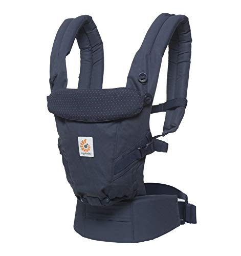 Ergobaby Adapt Baby Carrier, Infant to Toddler Carrier, Multi-Position, Premium Cotton, Navy Mini Dots