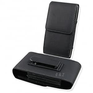 Black Leather Case Belt Clip Pouch + Screen protector for Sony Xperia ZL L35h c6502 h