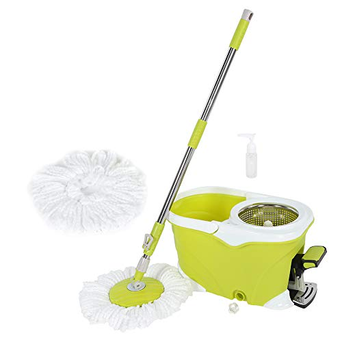 360 Degree Spin Dry Mop, Labor-Saving Mop & Bucket Floor Cleaning Tool Set System, Stainless Steel Drying Bucket - Drying System Floor