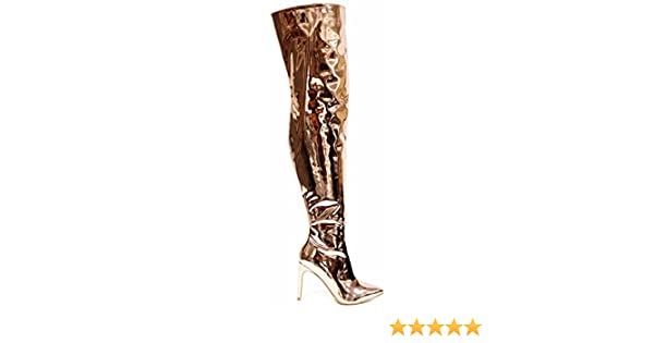 708c9ad8cd94f Cr Mini-80 Baggy Pointy Toe Stiletto Heel Thigh Over Knee Metallic Mirror  Boot Rose Gold