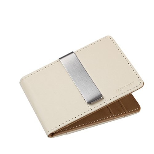 ECM08A06 Beige Brown Anniversary Smart Leather Wallet Stainless Steel Money Clip and 4 Card Holders Discount For Marriage By (Beige Fabric Wallet)