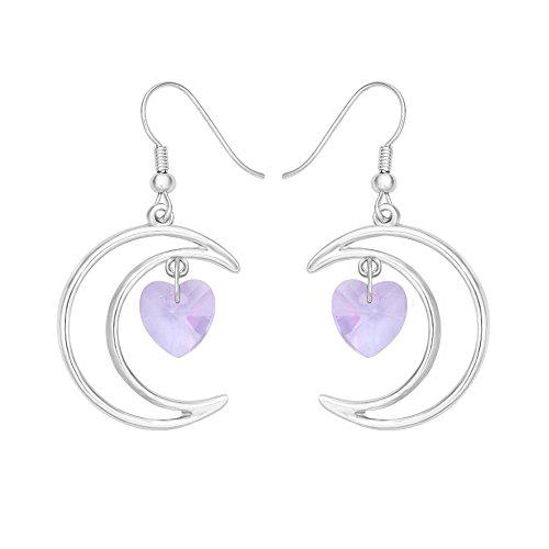 Half Moon Dangle (SENFAI Irish Crescent Half Moon Love Crystal Heart 1 Pair Hook Dangle Earrings 4 Color tone Silver(Purple 3))