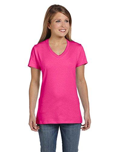 Gray Womens Pink T-shirt - Hanes Women's Nano- V-Neck T-Shirt WOW PINK X-Large