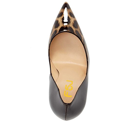 Sky Toe 15 High 4 Leopard Pumps Gradient Women Print Pointy Heels FSJ US Size Shoes Tq40YHwTx