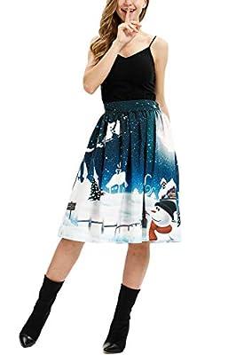 LOV ANNY Women's Elastic Waist Christmas Party Printed Flared Skirt Knee Length