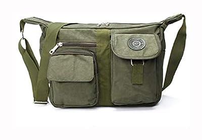 PROGLEAM Storage Bag, Men Women Casual Nylon Shoulder Handbag Travel Messenger Crossbody Tote, Green