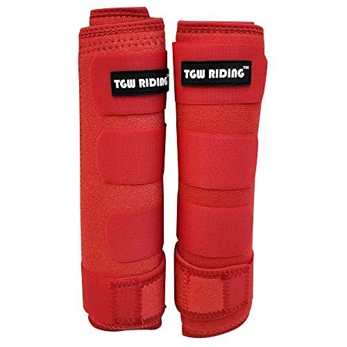 (TGW Riding Horse Sports Medicine Boots Horse Leg Wraps (Red, L))