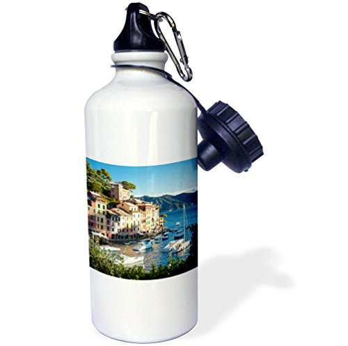 3dRose Danita Delimont - Italy - Looking out over the harbor town of Portofino, Liguria, Italy - 21 oz Sports Water Bottle (wb_277565_1) by 3dRose