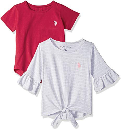 U.S. Polo Assn. Girls' Little 2 Pack T-Shirt, Candy Apple red Solid Fuchsia Multi, - Fuchsia Candy