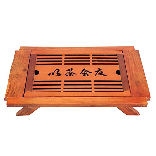(Qioni Solid Wood Tea Table, Chinese GongFu Tea Traditional Tea Healthy and Eco-Friendly Serving Tray Drainage Water Storage, for Home, Office, Dining, Coffee&More)