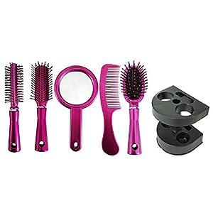 Pelo Classic Hair Brush Combo Kit For Men, Women And Girls, Set Of 5, 40 Grams, Pack Of 1 Pink