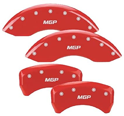 MGP Caliper Covers 10197SMGPRD 'MGP' Engraved Caliper Cover with Red Powder Coat Finish and Silver Characters, (Set of 4)