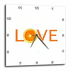 3dRose dpp_180482_3 Love with Orange For O. Healthy Eating Fruit Veg Food Nutrition Citrus Wall Clock, 15 by 15