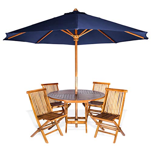 - All Things Cedar TT6P-R-B 6-Piece Teak Round Patio Table Folding Chair Set with Umbrella, Blue