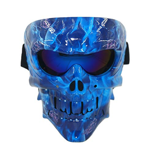 Blue Paintball Mask Lens - Vhccirt Cthulhu Style Monster Mask Spooky Fangs Skull Mask for Airsoft/Paintball/Skiing/Motorcross 2 in 1 Lenses Polarized Goggles Protective Mask Blue Flame